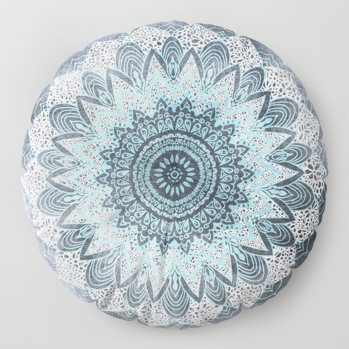 BOHOCHIC MANDALA IN BLUE Floor Pillow