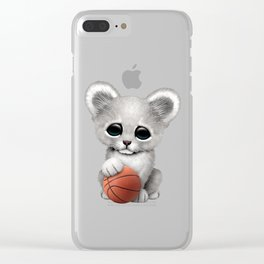 White Lion Cub Playing With Basketball Clear iPhone Case