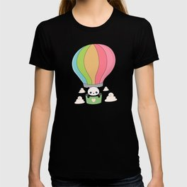 Kawaii Panda Bear Hot Air Balloon T-shirt