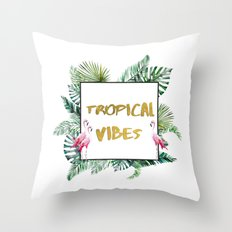Aloha - Tropical Vibes Typography with Palm Leaves and Flamingo Throw Pillow