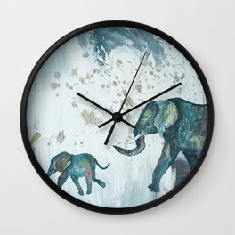 Follow me baby elephant Wall Clock