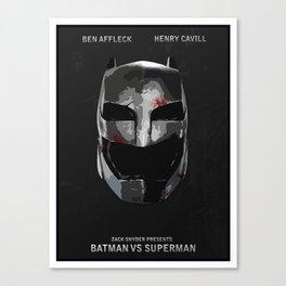 Batman/Vs/Superman Minimalist Digital Fan Art Movie Poster Canvas Print
