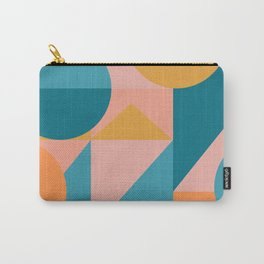 Colorful Geometric Abstraction in Blue and Orange Carry-All Pouch