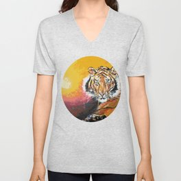 Awaiting the Darkness of Night (Male Tiger) Unisex V-Neck
