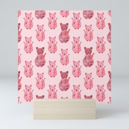 Rose Maneki Neko pattern Mini Art Print