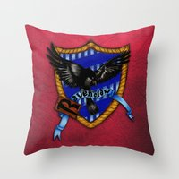 ravenclaw Throw Pillows featuring Ravenclaw by JanaProject