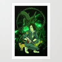 ripley Art Prints featuring Ripley by Ginger Breo