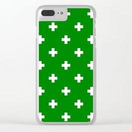 Swiss cross pattern on green Clear iPhone Case