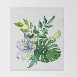 Flower and Leaves Throw Blanket