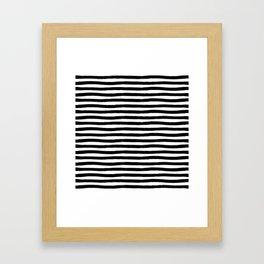 Black And White Hand Drawn Horizontal Stripes Framed Art Print