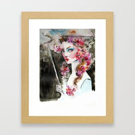 Girl with roses and an umbrella Framed Art Print