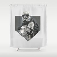 stormtrooper Shower Curtains featuring Stormtrooper by Molly Thomas