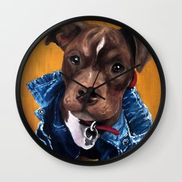 Pittie in a Jean Jacket Wall Clock