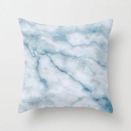 Light blue marble texture Throw Pillow