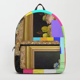 A Painting of Flowers With Color Bars Backpack