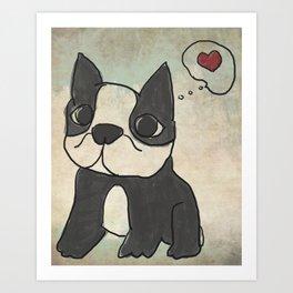 Hand Drawn and Quirky Boston Terrier San Jones Illustration Art Print
