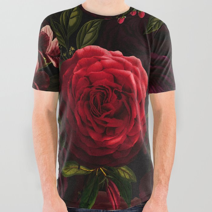 Mystical Night Roses All Over Graphic Tee