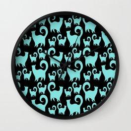 BLUE SNOBBY CATS Wall Clock