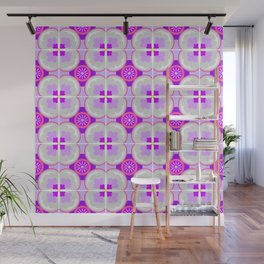 Purple Floral Tiles Wall Mural