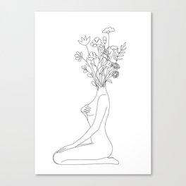 Minimal Line Bloom Canvas Print