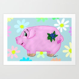 Blueberry Pig Art Print