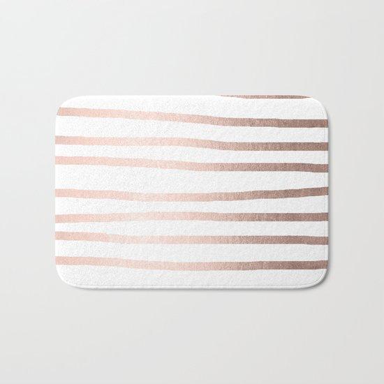 Simply Drawn Stripes Moon Dust Bronze Bath Mat
