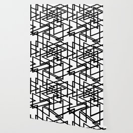 Interlocking Black Triangles Artistic Design Wallpaper
