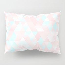Pastel Millennial Pink Teal Triangle Ombre Geometric Cute Pattern Pillow Sham