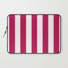 Pictorial carmine fuchsia - solid color - white vertical lines pattern Laptop Sleeve