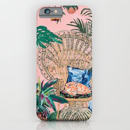 Ginger Cat in Peacock Chair with Indoor Jungle of House Plants Interior Painting iPhone Case