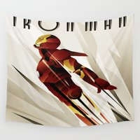 iron man Wall Tapestries featuring iron,man by store2u