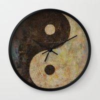 yin yang Wall Clocks featuring Yin Yang by Michael Creese