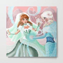 Anna and Elsa Metal Print