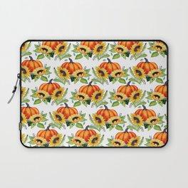 Pumpkin, sunflower, Fall berry, bee and moth Thanksgiving art Laptop Sleeve