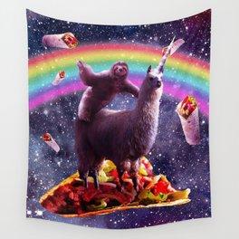 Sloth Riding Llama Wall Tapestry