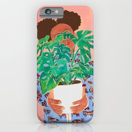 Adventure Stories for Introverts: Lethabo and the Delicious Monster, Woman with Indoor Plant Painting on Pink iPhone Case