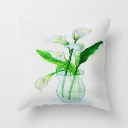 White Calla Lilies Throw Pillow