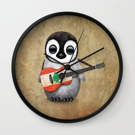Baby Penguin Playing Lebanese Flag Acoustic Guitar Wall Clock