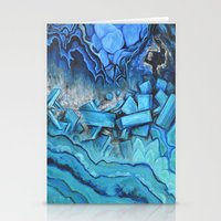 geode Stationery Cards featuring Azul Geode by Likuidgold
