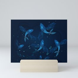 Whales with wings Mini Art Print
