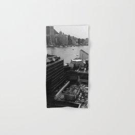 Hong Kong City Bay Black & White Monochrome Photography Art Print Hand & Bath Towel