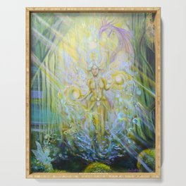 Magical Nebias forest original oil painting, Fairy tale forest painting, Fairies and dragon oil on c Serving Tray