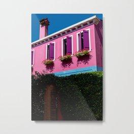 Pink, Burano Italy Metal Print