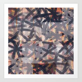 Multilayered Shibori Digital Painting Art Print