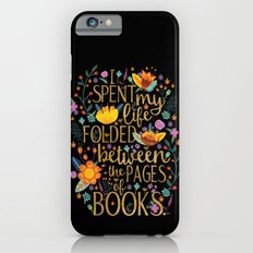 Folded Between the Pages of Books - Floral Black iPhone 6 Slim Case
