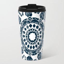 Vine white mandala on dark blue Travel Mug