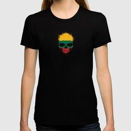 Flag of Lithuania on a Chaotic Splatter Skull T-shirt