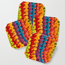 Rustic fabric made with recycled fabrics. Colorful handmade fabric. Vibrant colors of a fabric detai Coaster