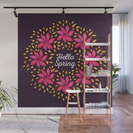 Hello Spring Watercolor Flowers Wreath Wall Mural