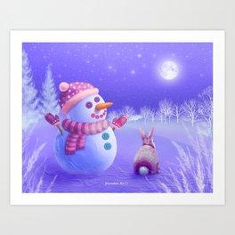Winter Night Moon Watching Art Print